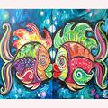 DIY 5D Diamond Painting Kits,Crystal Rhinestone Diamond Embroidery Paintings Pictures Arts Craft for Home Wall Decor,Crafts & Sewing Cross Stitch-Full Drill,Kissing Fish (30x40cm) Christmas Gifts