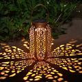 KHBNHJ 2 Pcs Solar Lanterns Hanging Outdoor Lights, Hexagonal Wax Gourd Lamp, Solar Powered Retro Metal Waterproof LED Garden Lights for Patio Lawn Yard Party Decor( Upgraded )