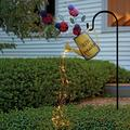 Solar Garden Lights Star Shower Garden Art Firefly Bunch Lights Waterfall Lamp Copper Wire Waterproof String Lights,Artificial Rose Lights Eid Metal Garden Decor Lights for Garden Patio Yard