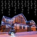 LED Icicle Christmas Lights Outdoor/Indoor 49ft 60 Drops with 300 LED The Perfect Ratio, 8 Lighting Modes, Connectable Icicle Lights, for Christmas Garden Wedding Party Patio Eave Decorations - White