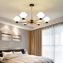 Nordic Living Room Chandelier,Creative Solid Wood Glass During Lighting,LED Sputnik Chandeliers for Living Room Bedroom Breakfast Room Farmhouse