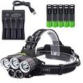 Rechargeable Headlamp, 5 LED Headlamp 6 Modes USB Rechargeable Waterproof Headlamp For Outdoor Camping Cycling Running Fishing, Head Lamps For Adults