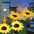 DUDNJC 2 Pack Sunflowers Solar Lights Waterproof Garden Decorative 8 LED Lighting, Silky Simulation Sunflower Outdoor Landscape Lighting, Decorative Garden Lights for Walkway,Pathway,Yard,Lawn