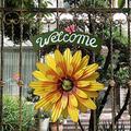 Kexle Vintage Iron Hanging Flower Welcome Sign - Porch Garden Wall Art Decoration, Flower Welcome Sweet Home Decor, Iron Art Front Door Garden Welcome Sign Plaque Garden Porch Door Decoration (F)