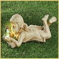 MDGWM Garden Children Solar Light Sculptures,Garden Solar Ornaments,Children Solar Light Sculptures,Firefly Jar Light,Solar Lighted Firefly Jar,Boy Girl Statue Garden Decor,Solar Fireflies Garden (C)