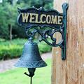 JUNSG Country Retro Welcome to The Cast Iron Bell Hand Bells Wind Bell Doorbell Heavy Metal Bell Rustic Home Garden Wall Decorative Wall Bell for Garden Entrance