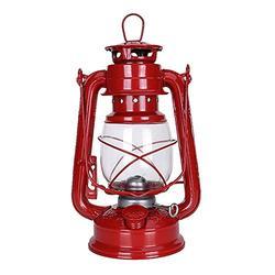 HUACHEN-LS Solar Lights Outdoor Decorative 25cm Retro Kerosene Lights Vintage Kerosene Lamp Leakproof Seal Does Not Rust Outdoor Camping Lights for Indoor Outdoor Decoration (Emitting Color : Red)