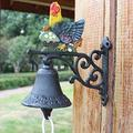 JUNSG Small Hand Painted Rooster Wall Mounted Bell Heavy Metal Bell with Hand Cranking Hanging Charm Rope Welcome Door Bell Decorative Wall Bell for Garden Entrance (Color : Hen, Size : 17x8x17cm)