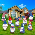 OBANGONG 9pcs 4th of July Yard Sign Patriotic Stars Stripes Gnome Faceless Doll Yard Signs with Stakes Outdoor Lawn Decorations Independence Day Lawn Outdoor Decor (Color Set A)