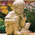 MDGWM Garden Children Solar Light Sculptures,Garden Solar Ornaments,Children Solar Light Sculptures,Firefly Jar Light,Solar Lighted Firefly Jar,Boy Girl Statue Garden Decor,Solar Fireflies Garden (A)