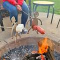 NMSLCNM Barbecue Net,Hot Dog and Marshmallow Roasters Kit,Funny Stainless Steel Fire Roasting Stick Hot Dog Guys Barbecue Grill Net for Family Garden Outdoor Campfire Party (B-Man+Woman2PC)