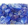 Oran Blue Fire Glass, Large, Gas Firepits, Gas Fireplace, Landscape, 50lb Fire Pit Glass Crushed Glass Fire Glass for Propane fire Pit Glass Beads Fire Glass Firepit Glass Rock Fire Pit Rocks