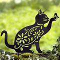 Cat Silhouette Stake for Yards, Gardens - Outdoor Shadow Decoration Outdoor Decor Garden Stakes Gardening Supplies Garden Stakes Decorative Garden Staples Plant Accessories Stakes for Gardening
