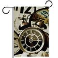 Garden Flag 28x40 inch,retro clock time,Yard Flag with Double Sided for Outside Farmhouse Patio Lawn Outdoor Home Decoration Gift