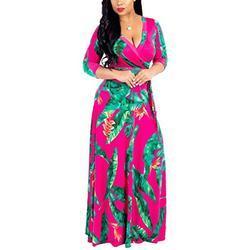 Women Sexy Deep V Neck 3/4 Sleeve Wrap Front Floal Print Maxi Long Dresses Rose L