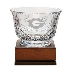 Grambling Tigers Medium Handcut Crystal Footed Revere Bowl