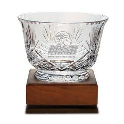 """Winston-Salem State Rams Medium Handcut Crystal Footed Revere Bowl"""
