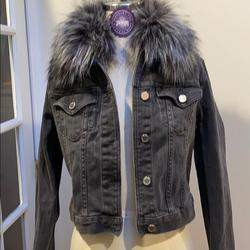 Michael Kors Jackets & Coats | Grey Jean Jacket With Grey Faux Fur! Never Worn | Color: Gray | Size: S