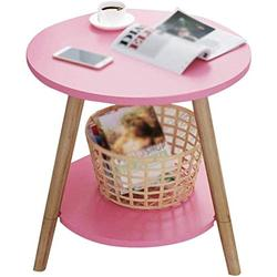 HLY Lazy Table, Sofa Side Table Small Coffee Table Living Room Round Table Mobile Table Coffee Table Coffee Table 4 Colors Durable,Pink,4949cm