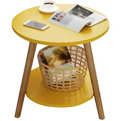 HLY Lazy Table, Sofa Side Table Small Coffee Table Living Room Round Table Mobile Table Coffee Table Coffee Table 4 Colors Durable,Yellow,4949cm