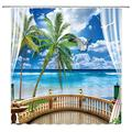 WUASDCS Beach Shower Curtain Summer Balcony Seascape Tropical Palm Tree Sky and Ocean Seagulls Waves Tropical Beach Vacation Polyester Fabric Bathroom Home Decoration with Hook Blue 70X70 inches