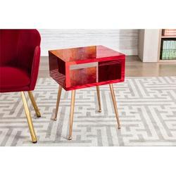 Orren Ellis Arnao End Table w/ Storage Plastic/Acrylic/Wood/Stainless Steel in Red/Brown, Size 23.0 H x 18.0 W x 15.0 D in | Wayfair