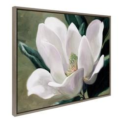 Red Barrel Studio® Apurva Solo Magnolia Framed Canvas By Laurie Snow Hein 28X38 Gray in Brown/Gray, Size 38.0 H x 28.0 W x 1.62 D in | Wayfair