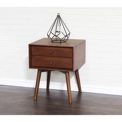 Corrigan Studio® Crafa Mid-Century Modern Two Drawer Square Nightstand Wood in Brown/Red, Size 24.02 H x 19.76 W x 17.99 D in   Wayfair