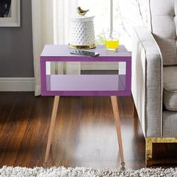 Everly Quinn MIRROR END TABLE MIRROR NIGHTSTAND END&SIDE TABLE (Purple Color)Wood/Stainless Steel in Brown/Gray/Yellow | Wayfair