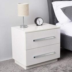 Wade Logan® Mccallum Modern High Gloss Nightstand White Night Stand w/ LED Light in Brown/White, Size 19.69 H x 14.57 W x 21.65 D in | Wayfair