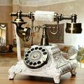 Bloomsbury Market European Telephone, Retro Dial Telephone, Old Rotary Telephone in White, Size 7.87 H x 7.84 W x 11.81 D in   Wayfair