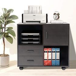Ebern Designs 2 Drawer File Cabinet w/ Shelves, Lateral File Cabinet, Wood Office File Cabinets w/ Wheels, 2 Drawers & 2 Open Shelves (Dark ) Wood