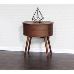 Corrigan Studio® Crafa Mid-Century Modern Two Drawer Oval Nightstand Wood in Brown/Red, Size 27.91 H x 26.5 W x 19.49 D in | Wayfair