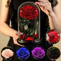 Rose éternelle artificielle la belle et la bête, sous dôme de verre, fausses fleurs, pour un cadeau