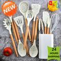 Ensemble d'ustensiles de cuisine en Silicone, antiadhésif, spatule, manche en bois