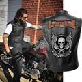 Veste de motard en cuir pour homme, couleur unie, Punk, crâne brodé, manteaux courts