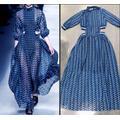 Robe de soirée à rayures bleues pour femmes, manches longues, col roulé, Sexy, taille ajourée, ligne