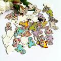 Boutons de couture en bois 2 trous, 50 pièces, accessoires de couture, boutons décoratifs, dessin