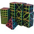QIYI – Cube magique en Fiber de carbone 2x2 3x3x3 4x4 5x5, 11 sortes d'autocollants, Puzzle, jouet
