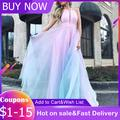 Robe de soirée longue rose bleu Sexy, robe de princesse sans manches, taille haute, maille élégante,