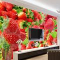 YTJBEI Photo Wallpaper Wall Mural -Red Strawberry Non Woven Wall Mural Adults and Children Teen´s Room Office for Bedrooms 3D Mural Wall Decoration 300 X 210 cm