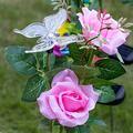 Solar Garden Lights Outdoor Decorative,Rose Flower Solar Lights Outdoor Garden,Automatic Charging Solar Garden Stake Lights,LED Solar Landscape Lighting for Garden