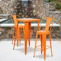 """Flash Furniture Commercial Grade 23.75"""" Square Orange Metal Indoor-Outdoor Bar Table Set with 2 Stools with Backs"""