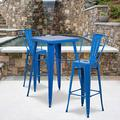 """Flash Furniture Commercial Grade 23.75"""" Square Blue Metal Indoor-Outdoor Bar Table Set with 2 Stools with Backs"""