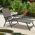 Latitude Run® 2 Pcs Patio Furniture Adjustable Pool Chaise Lounge Chair Outdoor ReclinerMetal in Brown, Size 35.0 H x 28.0 W x 30.0 D in | Wayfair