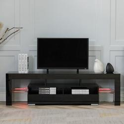 Ivy Bronx Wood Media Storage Console For 65 Inch TV, Flat Screen TV Cabinet, Gaming Consoles Wood in Black, Size 18.0 H x 63.0 W x 14.0 D in Wayfair