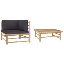 vidaXL 2 Piece Garden Lounge Set with Dark Gray Cushions Bamboo