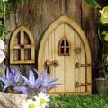 Ensemble de portes et fenêtres féeriques en bois, décoration de jardin Pixie Miniature, fournitures