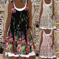 Femmes Lâche Décontracté Robe Sans Manches Col Rond Robe Longue Imprimée Grande Taille Robes D'été
