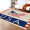 Olivefox 2x3 Feet Floor Mat Area Rug, Stars and Stripes Pattern Eagle on Wood Board Floor Runner Indoor Carpet, Non Skid Backing Floor Rug Accent Area Runner for Living Room, Hallway, Kitchen, Office
